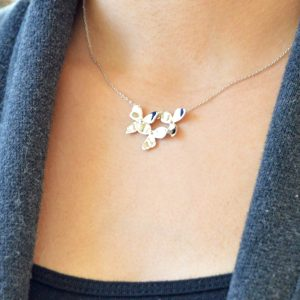 blossom floral sterling silver necklace by Kit Heath