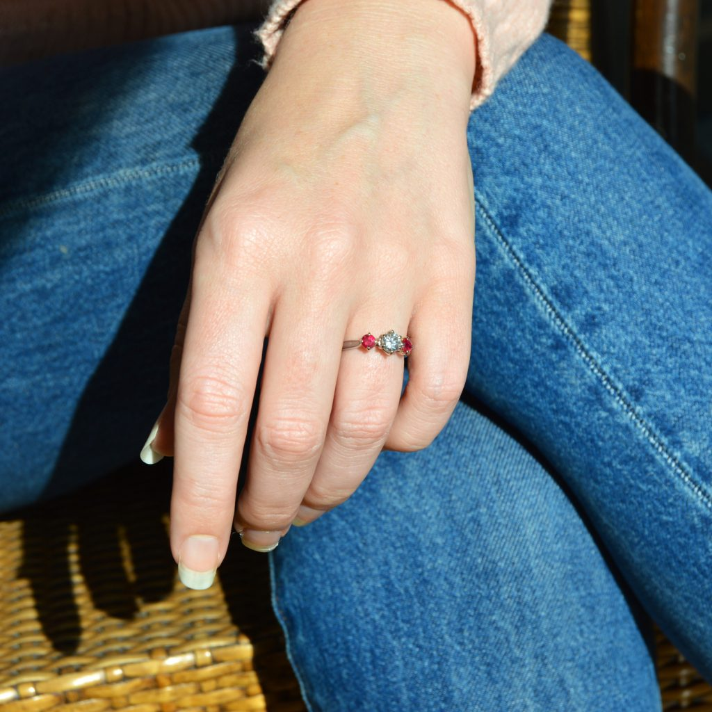 Diamond and ruby three stone ring in 14k white gold