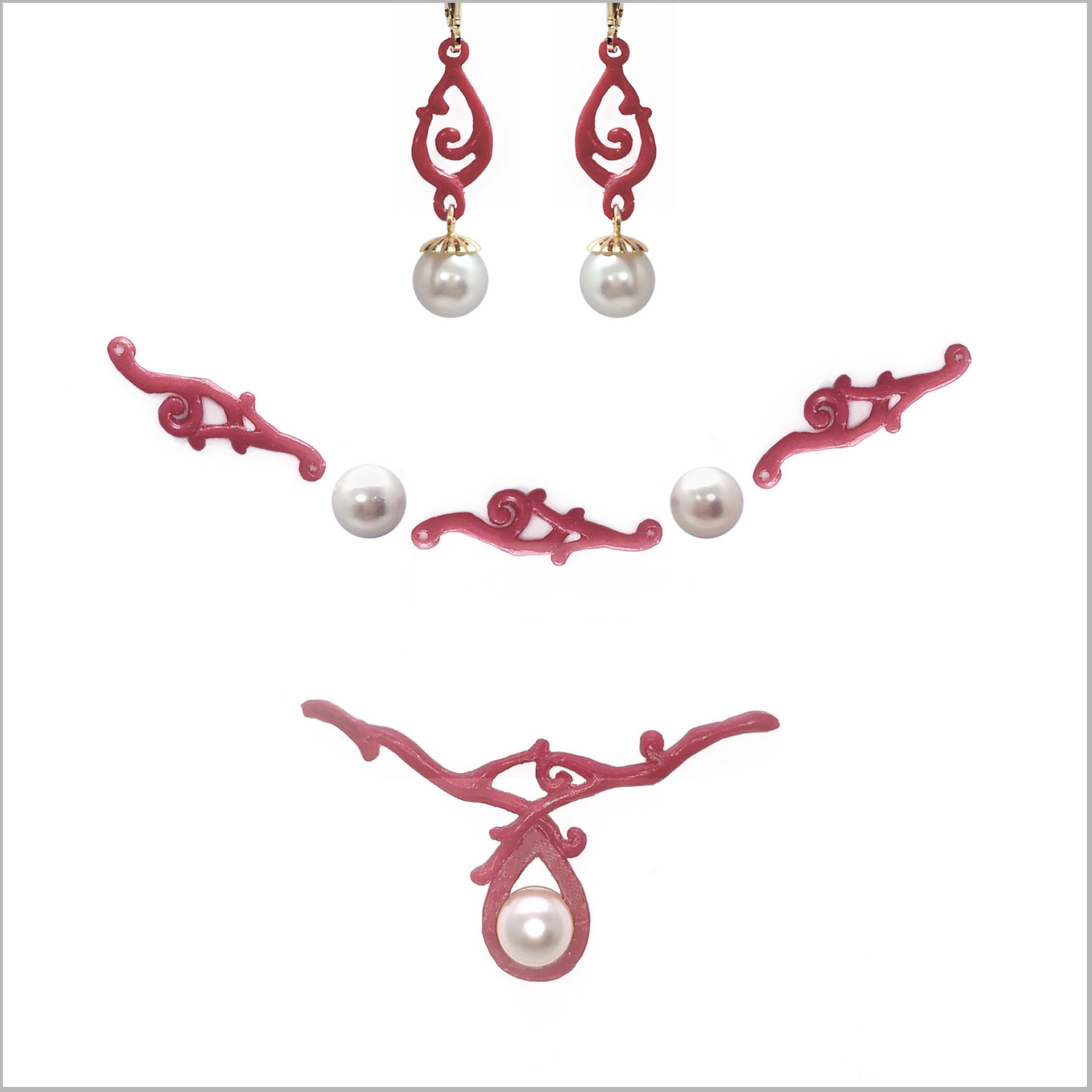 Hand-carved wax models for lost wax casting process. Pearl and scroll branch style pieces for earrings, necklace and bracelet, commissioned ordered as a custom jewelry set for a bride to wear on her wedding day,