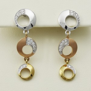 14k Rose, White, & Yellow Gold Earrings - Morgan's Treasure - Custom Jewelry