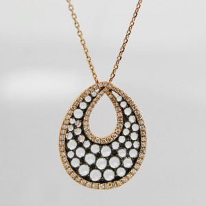 Rose Gold Pendant with Diamonds and White Topaz - Morgan's Treasure - Custom Jewelry