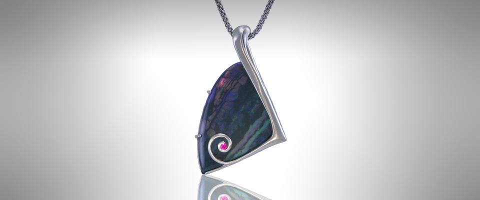 Custom Black Opal Pendant - Morgan's Treasure Custom Jewelry