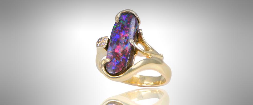 Custom Boulder Opal Ring - Morgan's Treasure - Custom Jewelry