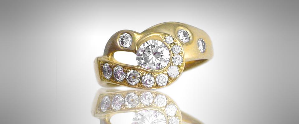 Custom Asymmetrical Engagement Ring - Morgan's Treasure - Custom Jewelry