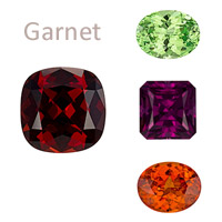 Garnet gemstones birthstones color options in red, green, purple, orange