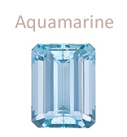 Aquamarine emerald-cut gemstone march birthstone