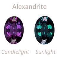 Alexandrite gemstone june birthstone color change
