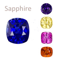 sapphire gemstone september birthstone, cornflower blue, navy, purple, yellow, orange, pink, fancy colors