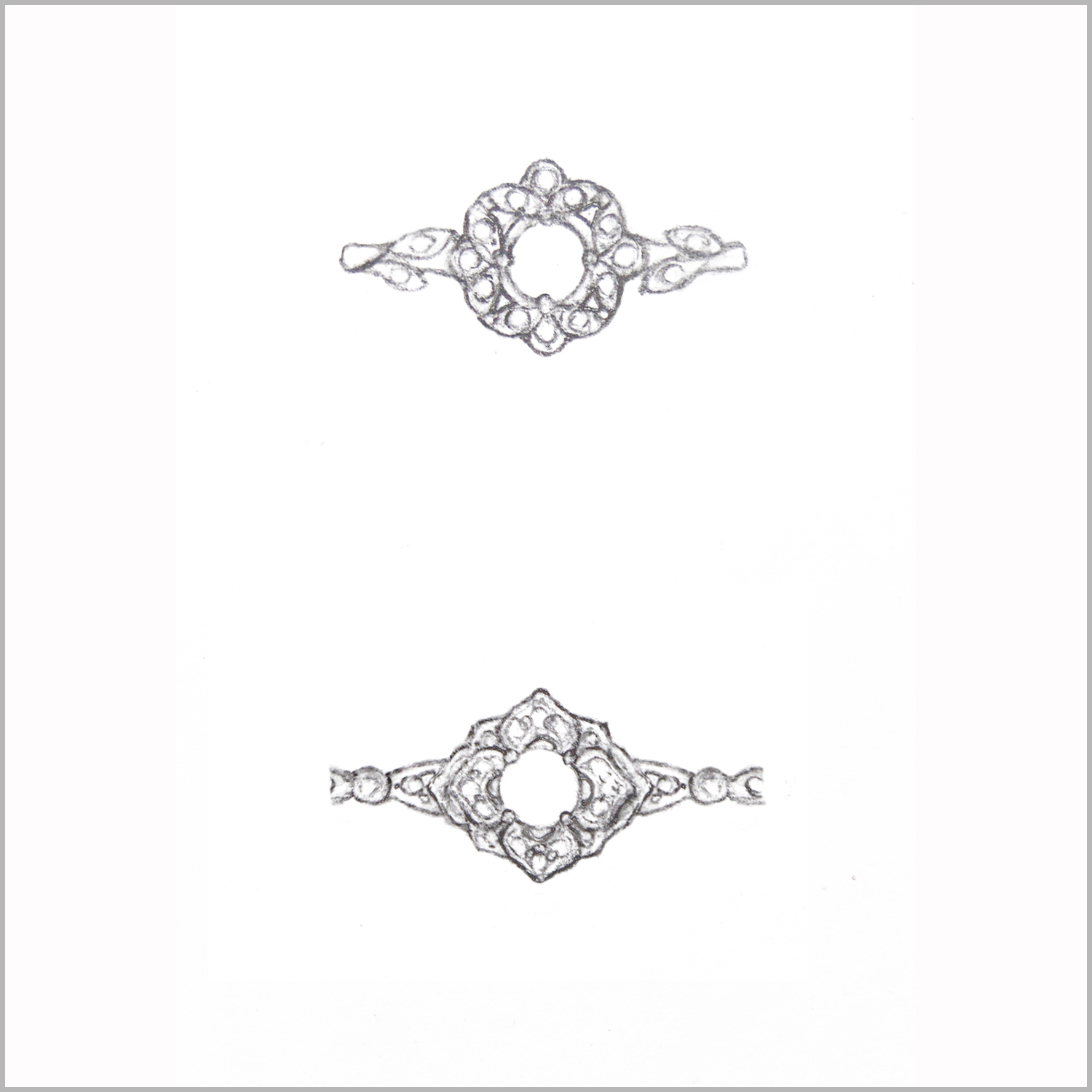 Sketches for custom designed engagement ring. Renderings to show customer who was designing her own engagement ring with her diamonds in a vintage floral design