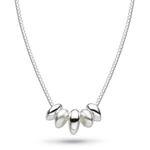 Dainty necklace with beads, polished and sandblasted pebble inspired, kit heath