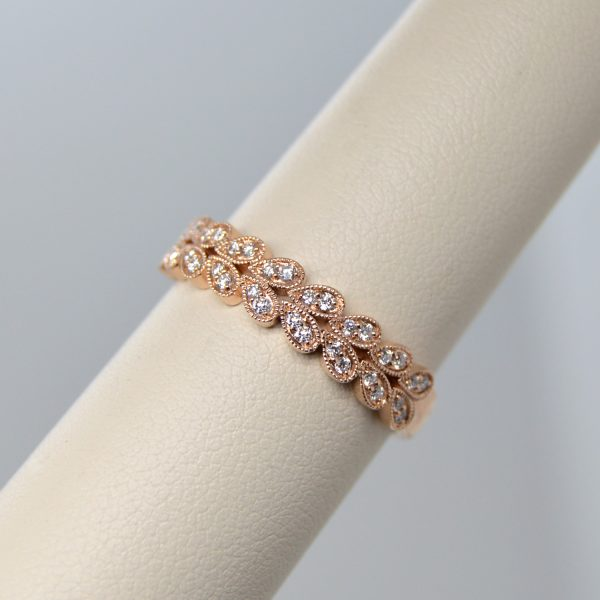 14k rose gold wedding band or stackable ring with double row of diamonds in leaf shape with millgrain edge