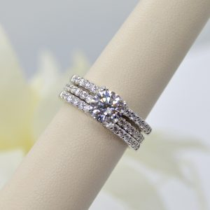 Allison Kaufman double wedding band, ring, wrap, enhancer, guard with diamonds in 14k white gold