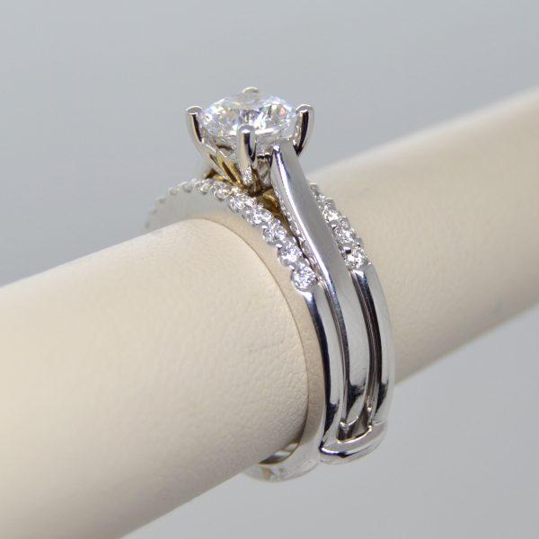Allison Kaufman double wedding band, ring, wrap, enhancer, guard with diamonds in 14k white gold