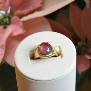 Bicolor Tourmaline Ring in 14K yellow gold designed by Morgan's Treasure