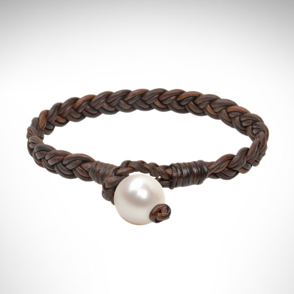 Vincent Peach bracelet brown leather bracelet with white freshwater pearl