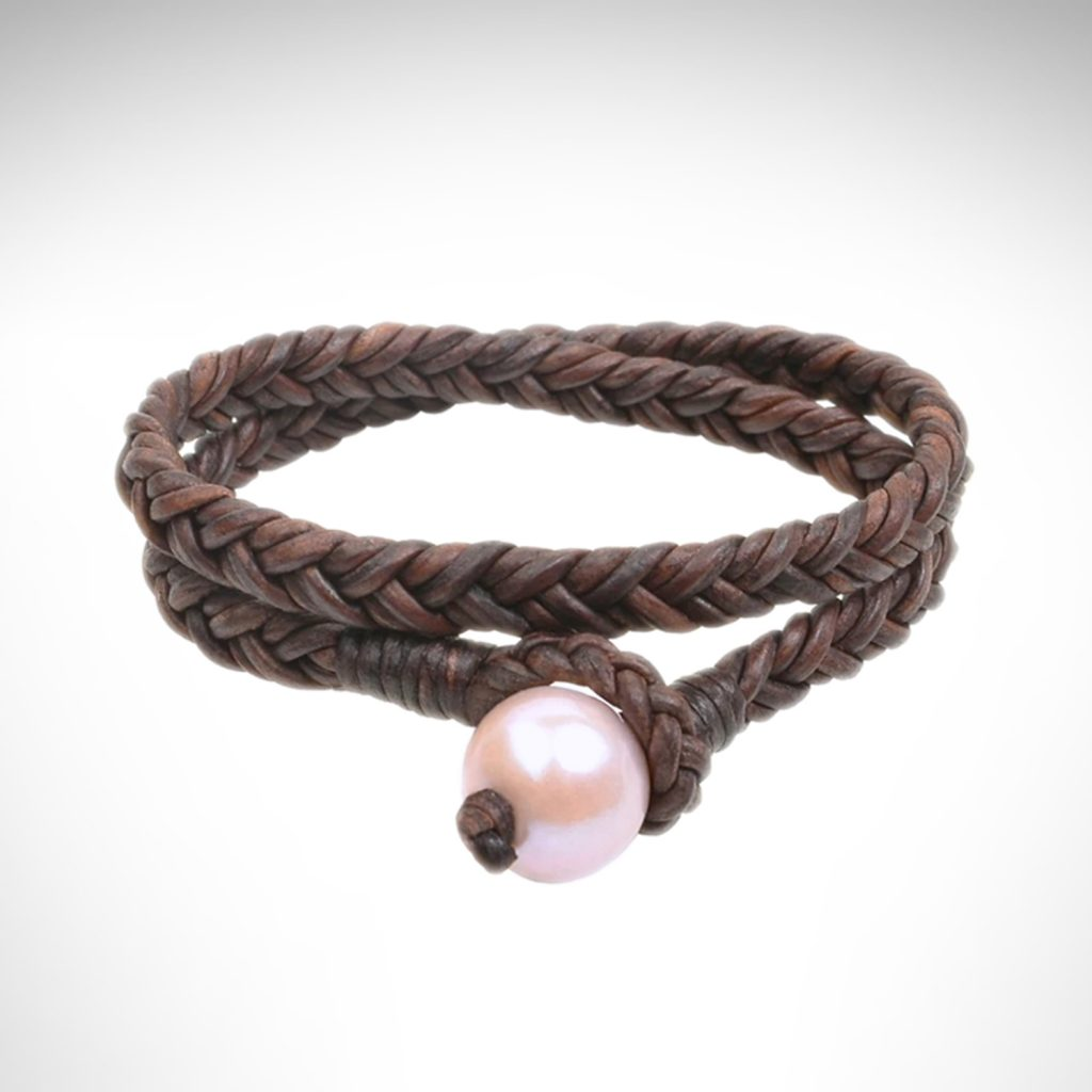 Vincent Peach wrap braided brown leather bracelet with pink freshwater pearl