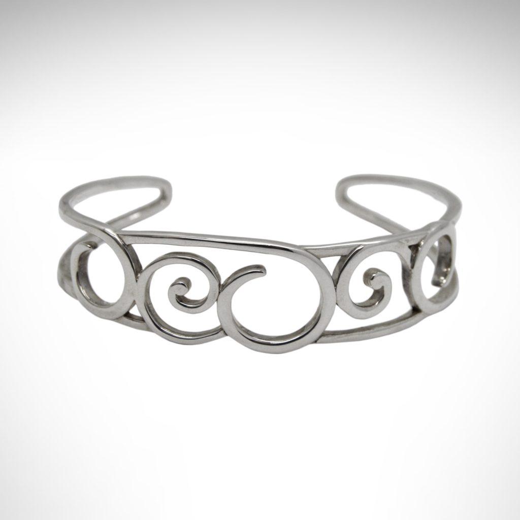 sterling silver bracelet with scroll design by kit heath