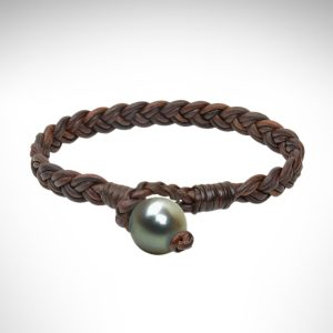 Vincent Peach bracelet brown leather bracelet with tahitian pearl