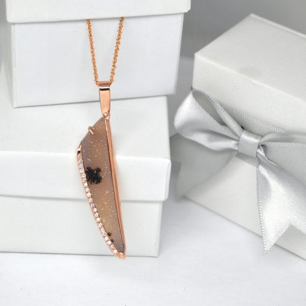 dendritic druzy necklace with diamonds in rose gold, designed by Morgan's Treasure Custom Jewelry