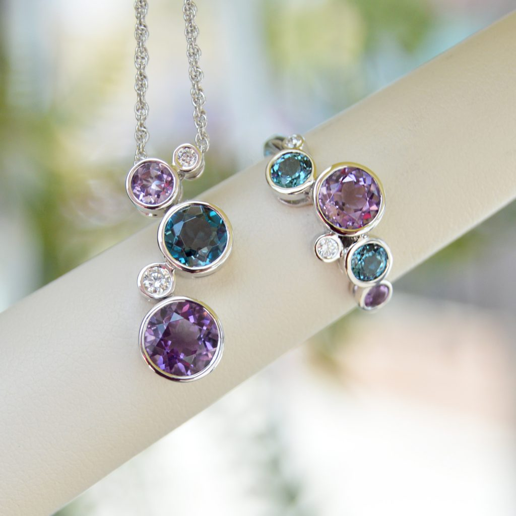 Allison Kaufman necklace in 14k white gold with amethyst and london blue topaz with diamond accents, bezel set necklace