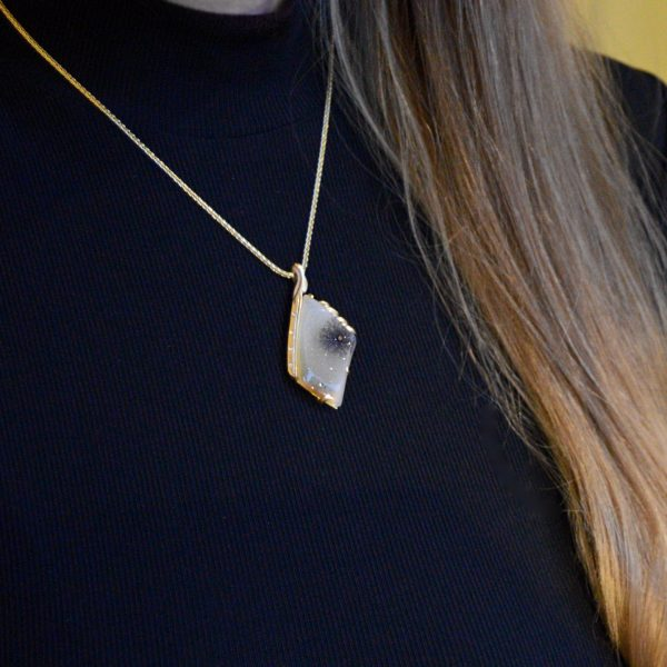 Druzy necklace in 14k yellow gold with dendritic inclusion and diamonds custom designed by morgan's treasure