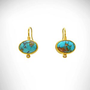 oval turquoise earrings in 24 karat gold with diamonds