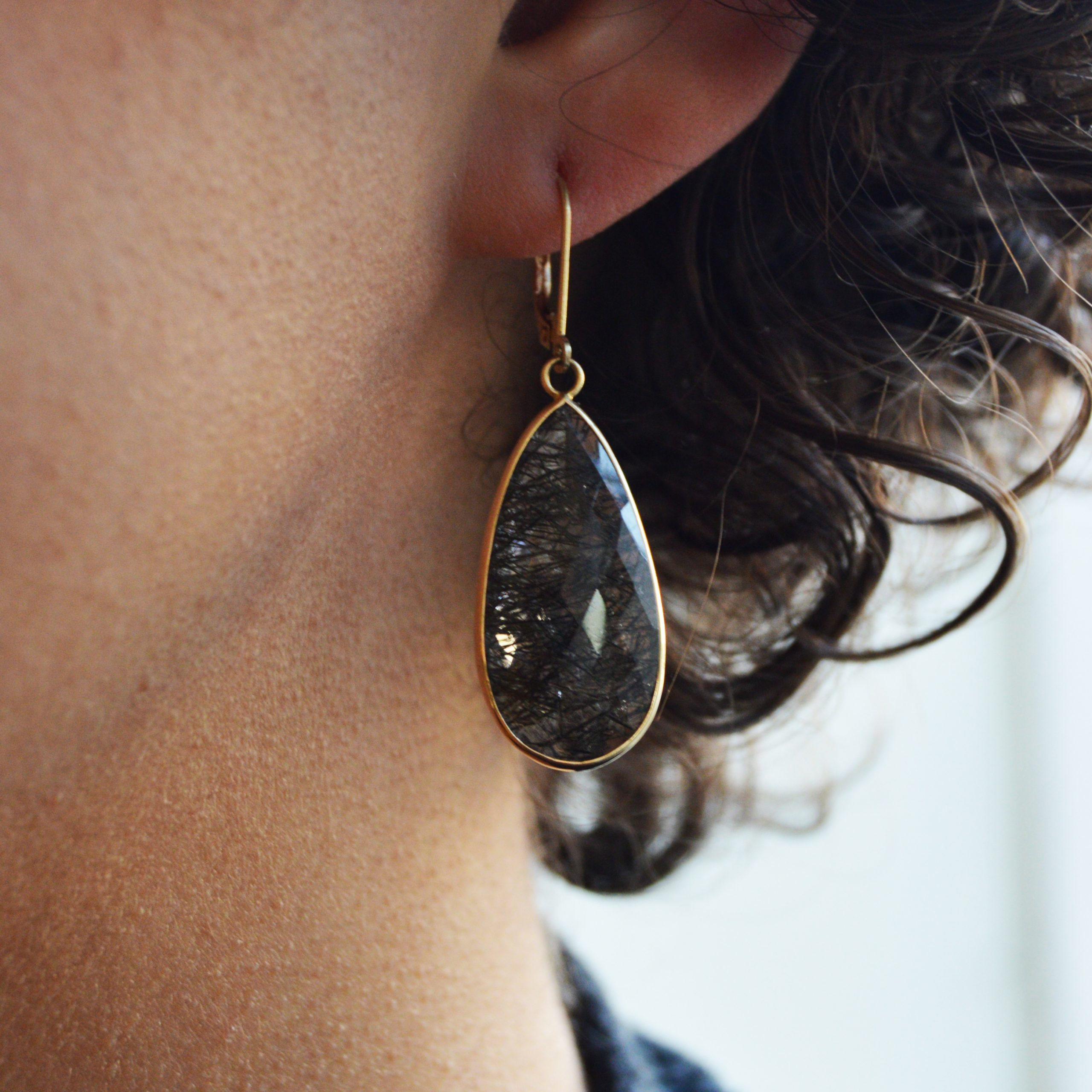 Blue Quartz Dangle Earrings,14K Yellow Gold Leverbacks