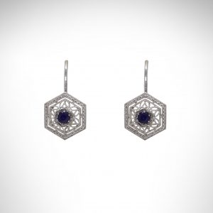 Filigree White Gold Earrings with Sapphires