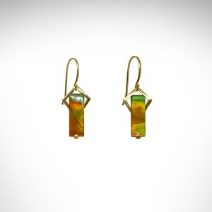 Designed by Morgan's Treasure, Ammolite (fossilized Ammonite) earrings in yellow gold geometric, art-deco inspired dangle earrings