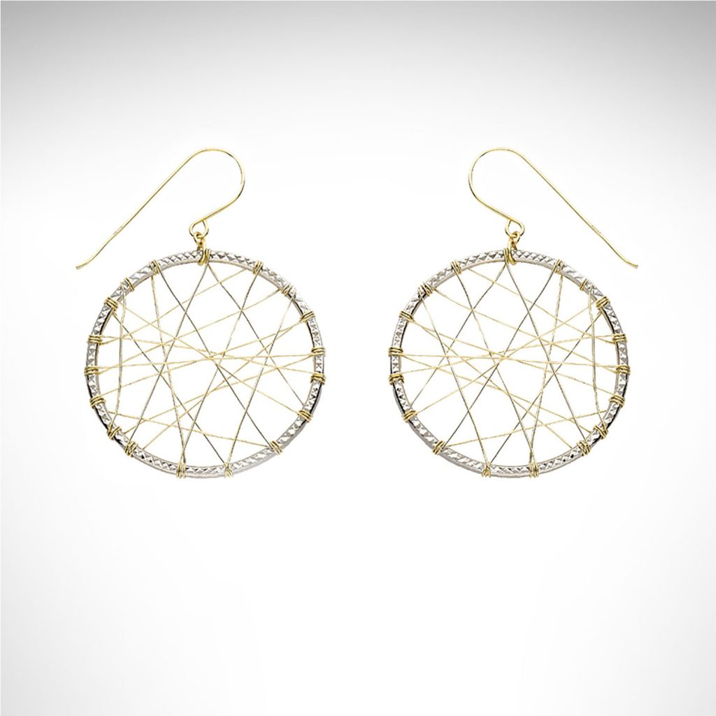 14k white and yellow gold dream catcher style dangle earrings