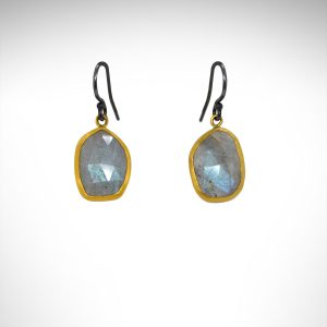 Labradorite earrings designed by Lika Behar with oxidized sterling silver and 24K gold bezels