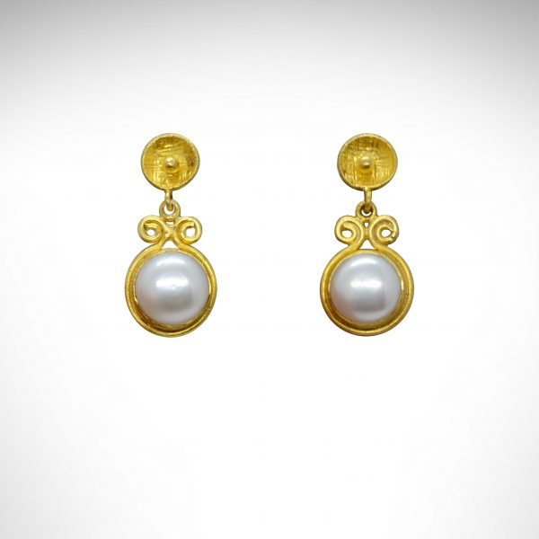 24K yellow gold earrings with pearl dangles, prehistoric works