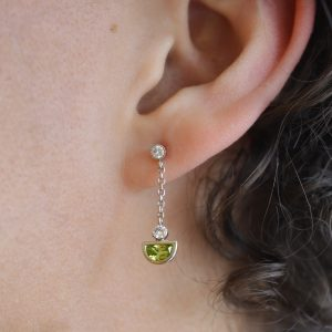 Peridot and diamond dangle post earrings 14Kt white gold