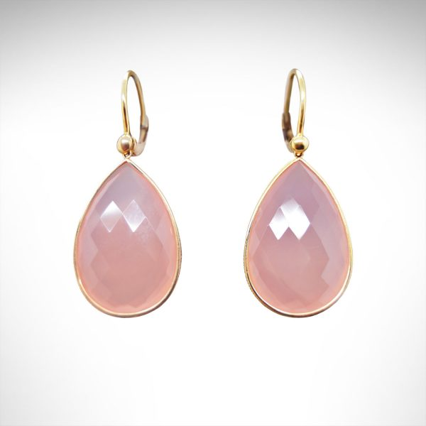 14ky earrings with teardrop shaped faceted rose quartz gemstones dangling from leverbacks.