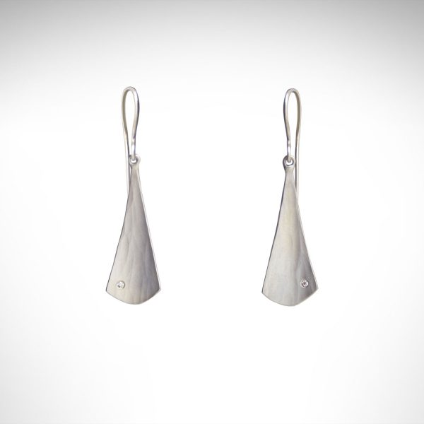 Hammered sterling silver earrings with brushed finish and accent diamonds