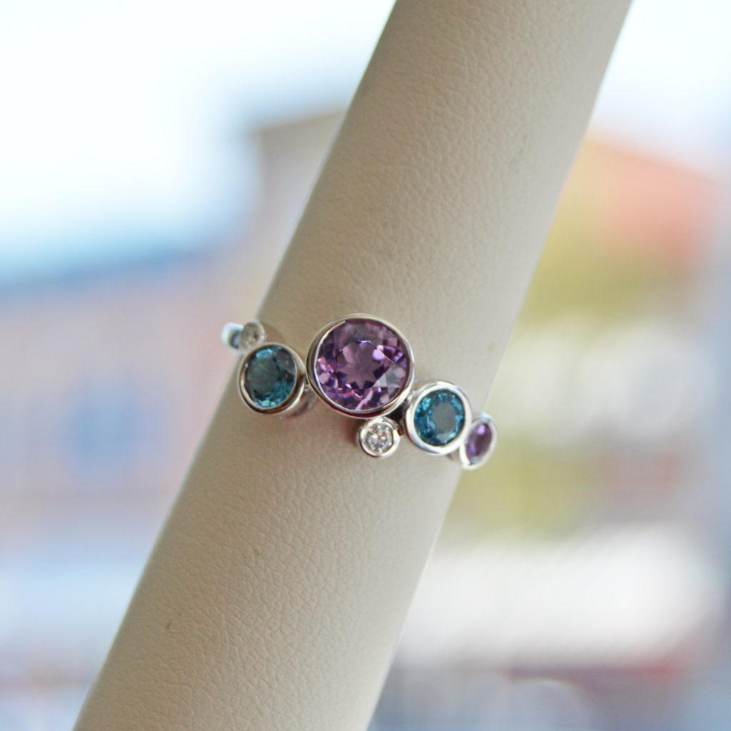 Allison Kaufman ring in 14k white gold with amethyst and london blue topaz with diamond accents, bezel set ring