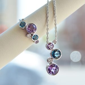 Allison Kaufman necklace and ring in 14k white gold with amethyst and london blue topaz with diamond accents, bezel set necklace