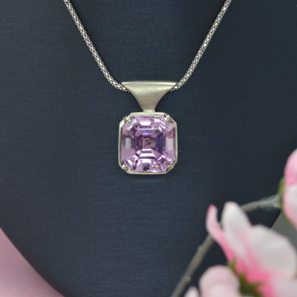 Asscher cut Kunzite gemstone in 14k white gold necklace with satin finish. Designed by Morgan's Treasure