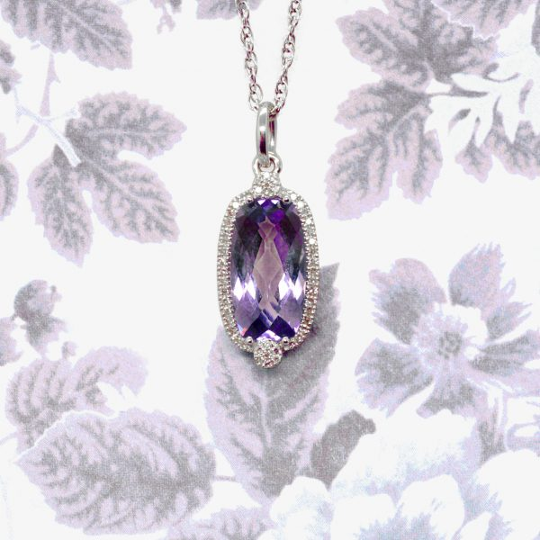 Amethyst diamond necklace