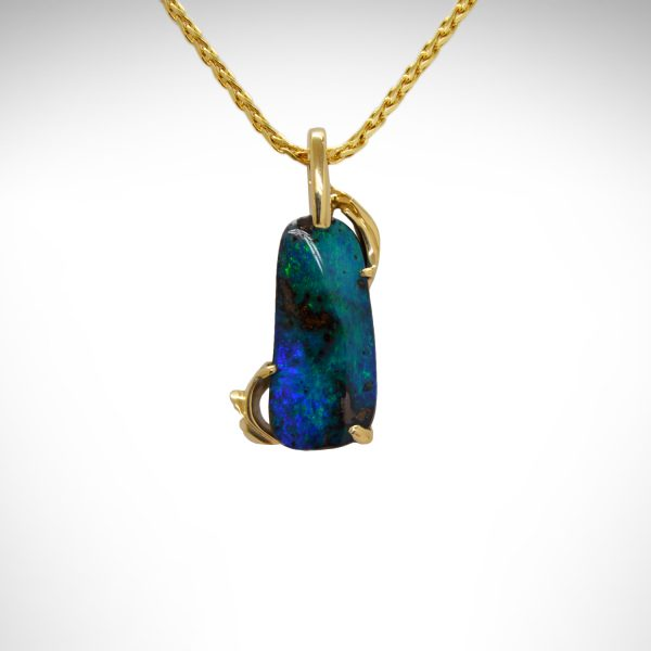 14k yellow gold pendant with blue green boulder opal on wheat chain