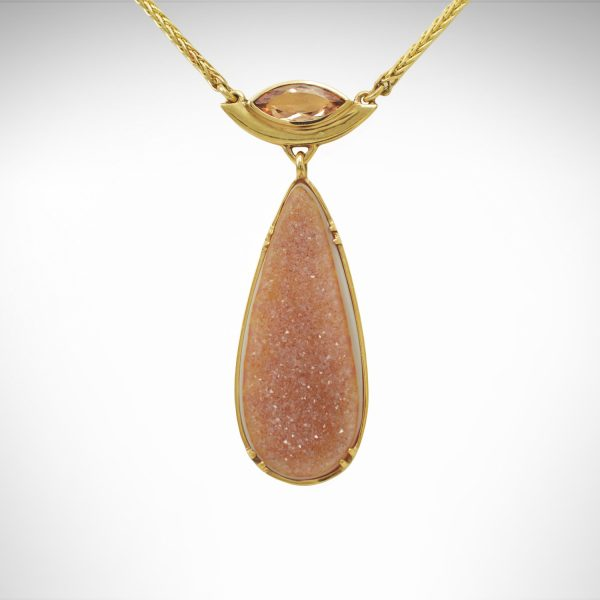 14k yellow gold necklace, gold jewelry with precious topaz bezel-set marquise and wheat chain with dangle of teardrop-shaped druzy with prongs and natural gemstone with quartz crystals on agate, natural color apricot/peach/tan