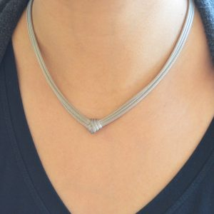 Sterling silver mesh necklace, woven silver wire with knot.