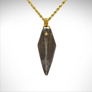 Sterling silver spearhead necklace oxidized with diamond bezel and 24kt gold bail on 14k gold chain