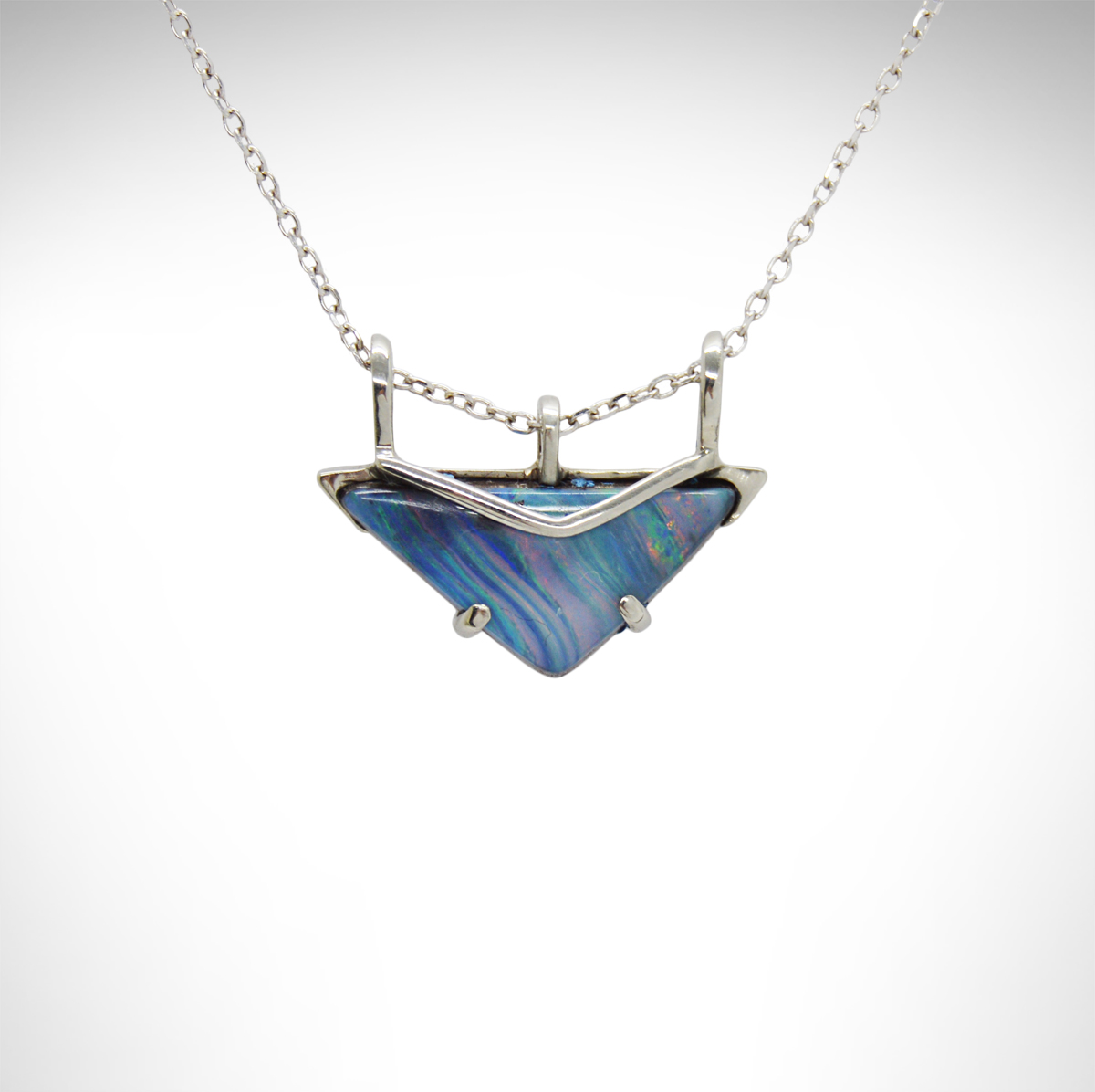 Australian boulder opal with striations of blue, green, purple with geometric triangular design slides on cable chain, 14K white gold, minimalist prong style