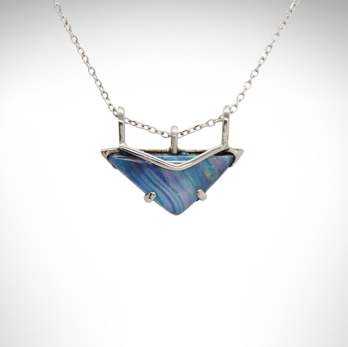 Boulder Opal Pendant  Australian Opal Necklace  Flashy Opal  Small Boulder Opal  Australian Opal