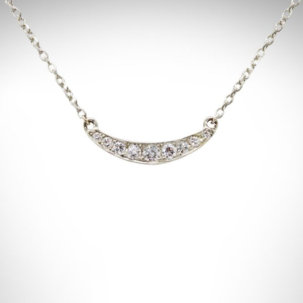 14K white gold diamond bar necklace, dainty curved necklace with cable chain