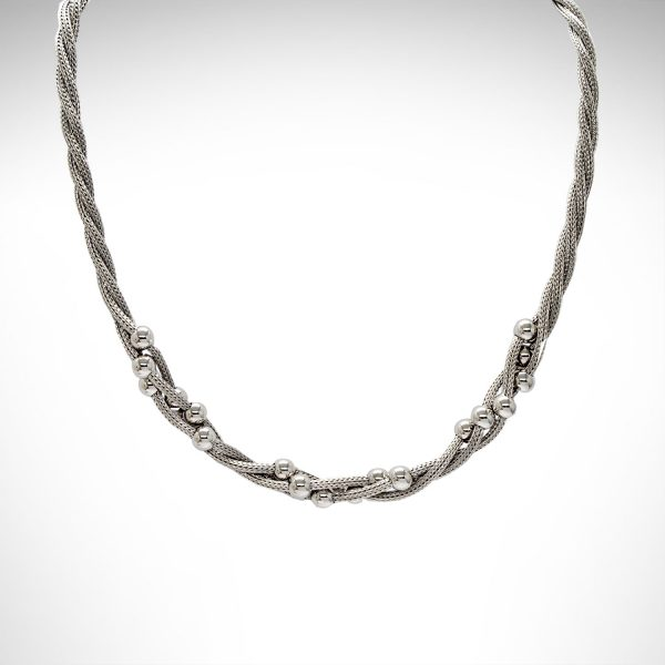 sterling silver necklace with polished beads twisted into woven sterling wire.