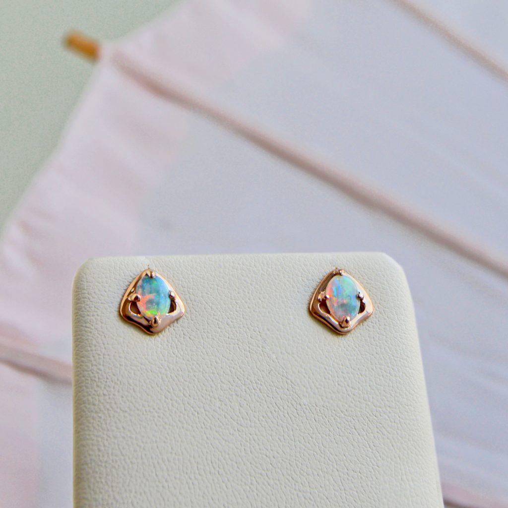 Opal earrings in 14KR designed by Morgan's Treasure
