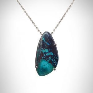"""Sterling silver necklace with 20"""" cable chain and slide pendant with oxidized silver prong setting with chrysocolla blue and black gemstone."""
