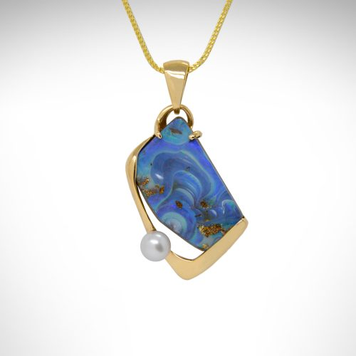Australian Boulder Opal Blue Swirl pendant in 14K yellow gold with round freshwater pearl, designed by Morgan's Treasure Westerville OH